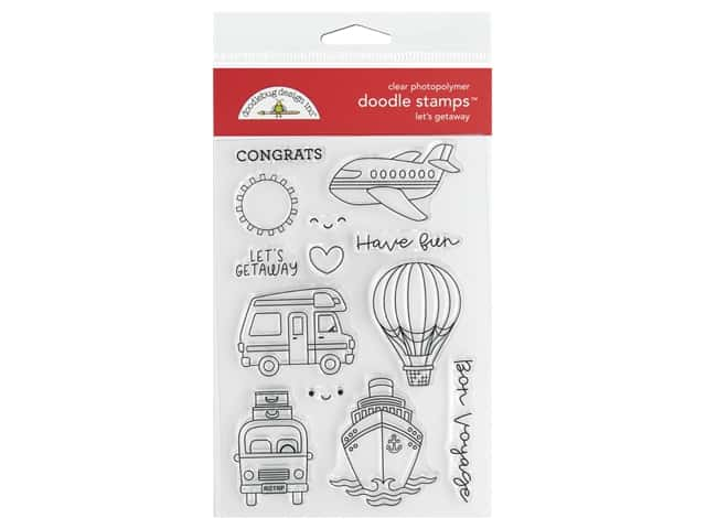 Doodlebug Collection I Heart Travel Doodle Stamps Let's Getaway