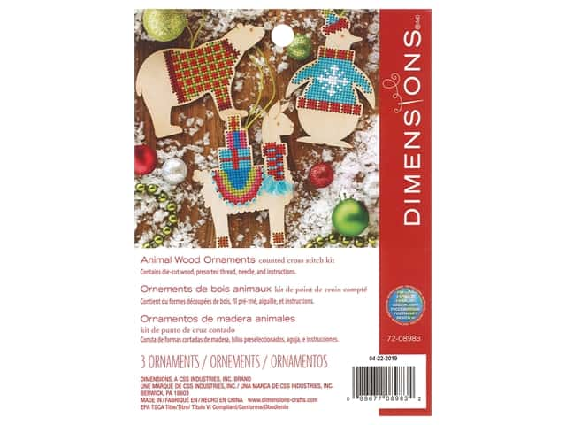 Dimensions Counted Cross Stitch Kit Animal Wood Ornaments