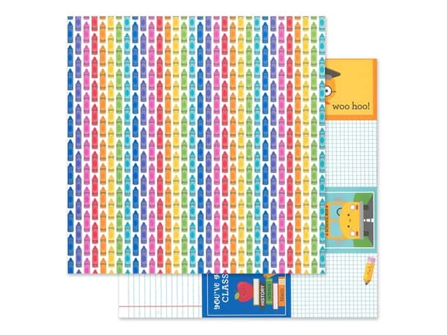 "Doodlebug Collection School Days Paper 12""x 12"" Color Me Happy"