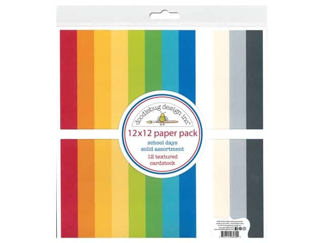 Doodlebug Collection School Days Paper Pack 12 in. x 12 in. Textured