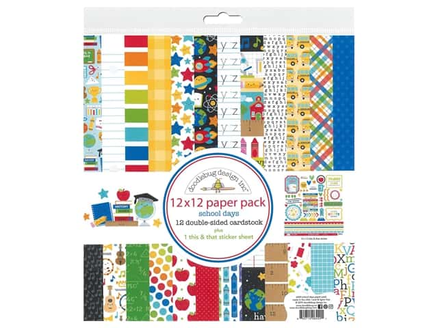 Doodlebug Collection School Days Paper Pack 12 in. x 12 in.
