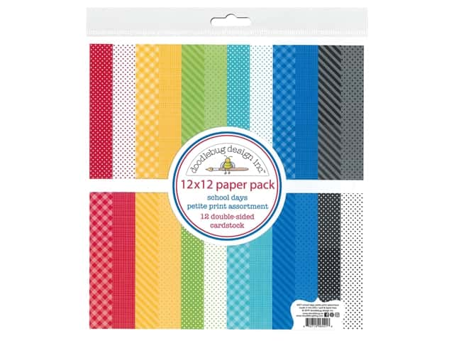 "Doodlebug Collection School Days Paper Pack 12"" in. x 12 in. Petite Print"