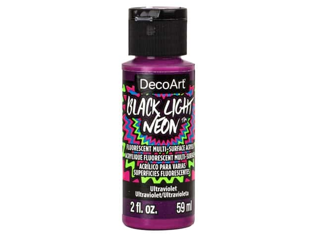 Decoart Black Light Neon Paint 2 oz Ultraviolet