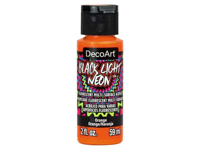 Decoart Black Light Neon Paint 2 oz Orange