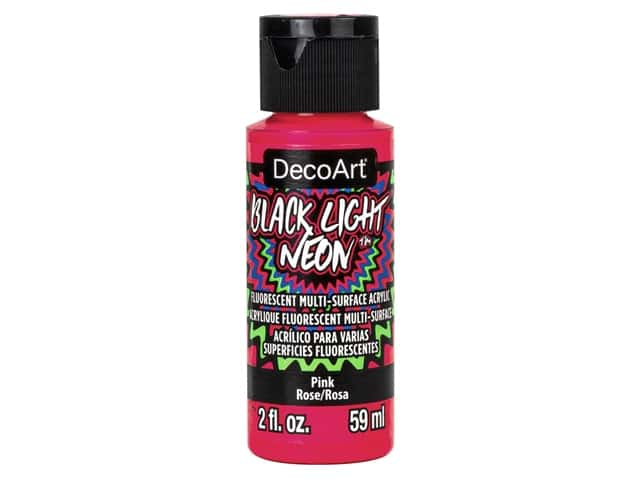 Decoart Black Light Neon Paint 2 oz Pink