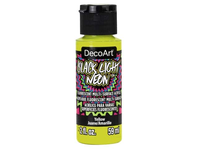 Decoart Black Light Neon Paint 2 oz Yellow