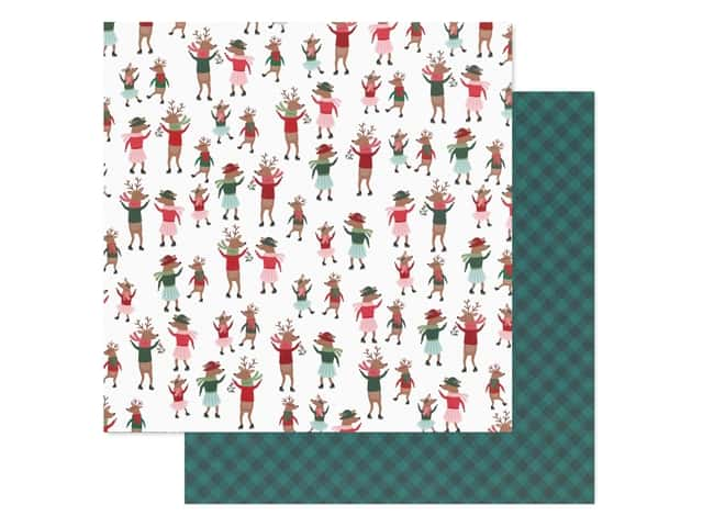 Pebbles Collection Merry Little Christmas Paper 12 in. x 12 in. Dancing Reindeer