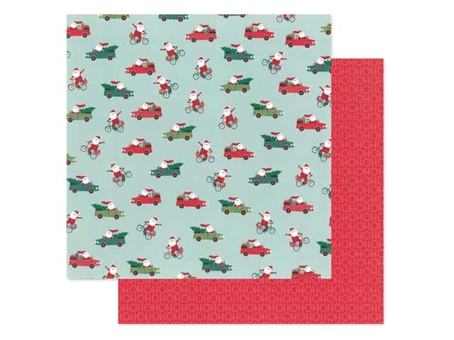 Pebbles Collection Merry Little Christmas Paper 12 in. x 12 in. Santa On The Go