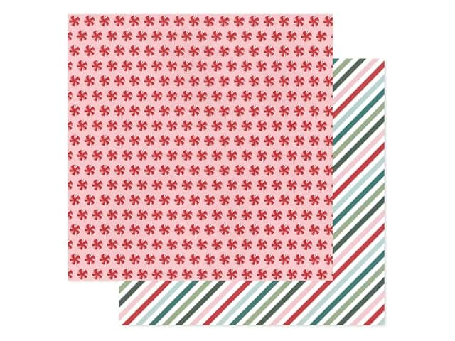 Pebbles Collection Merry Little Christmas Paper 12 in. x 12 in. Peppermint Candy