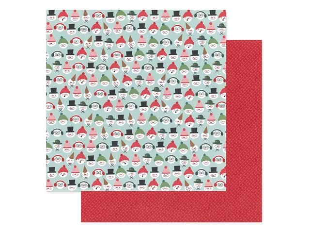 Pebbles Collection Merry Little Christmas Paper 12 in. x 12 in. Snow Friends