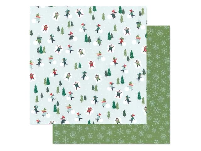 Pebbles Collection Merry Little Christmas Paper 12 in. x 12 in. Snow Day