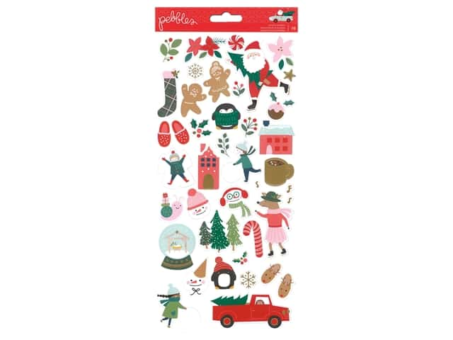 Pebbles Collection Merry Little Christmas Sticker 6 in. x 12 in. Foil Gold