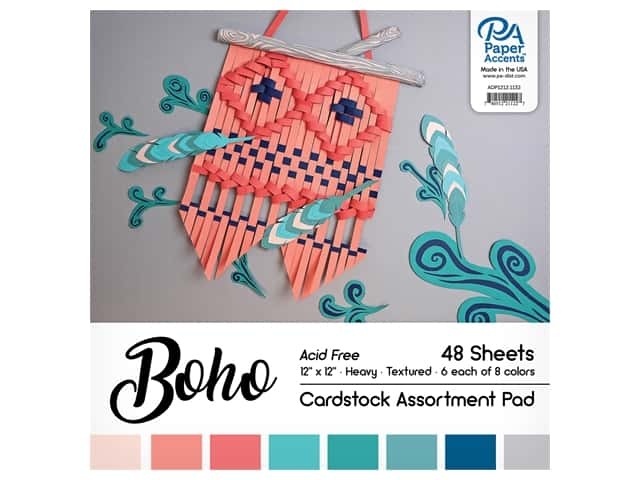Paper Accents Cardstock Pad 12 in. x 12 in. Boho Assortment 48 pc