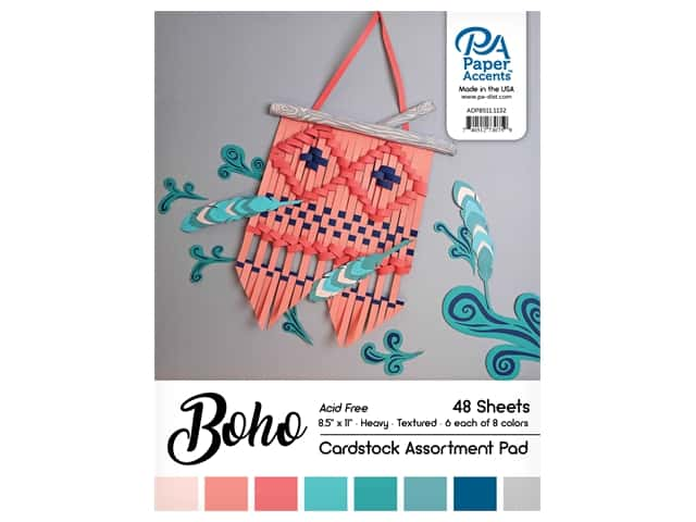 Paper Accents Cardstock Pad 8.5 in. x 11 in. Boho Assortment 48 pc