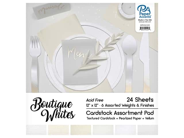 Paper Accents Cardstock Pad 12 in. x 12 in. Boutique Whites Assortment 24 pc