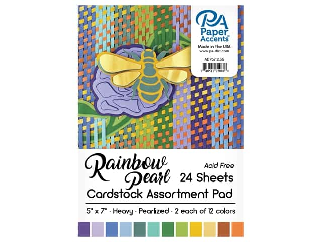 Paper Accents Cardstock Pad 5 in. x 7 in. Rainbow Pearlized Assortment 24 pc