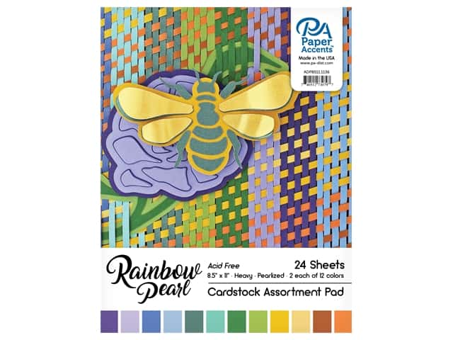 """Paper Accents Cardstock Pad 8.5""""x 11"""" Rainbow Pearl Assortment 24pc"""