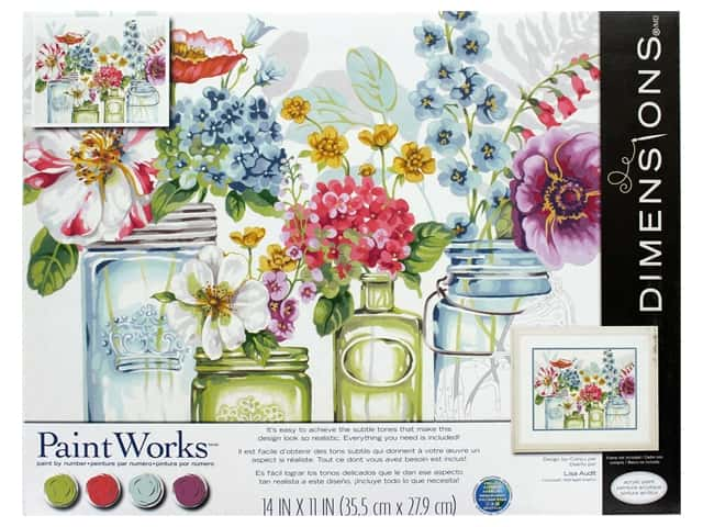 Paintworks Paint By Number Kit 14 x 11 in. Rainbow Flowers