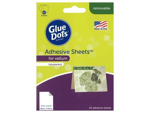 Glue Dots Adhesive Sheets 3.5 in. x 2.5 in. For Vellum 10 pc