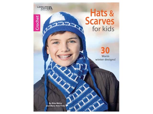 Leisure Arts Hats & Scarves For Kids Crochet Book