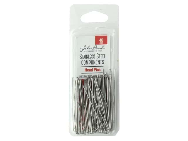 John Bead Findings Stainless Steel Headpin 40 mm 100 pc