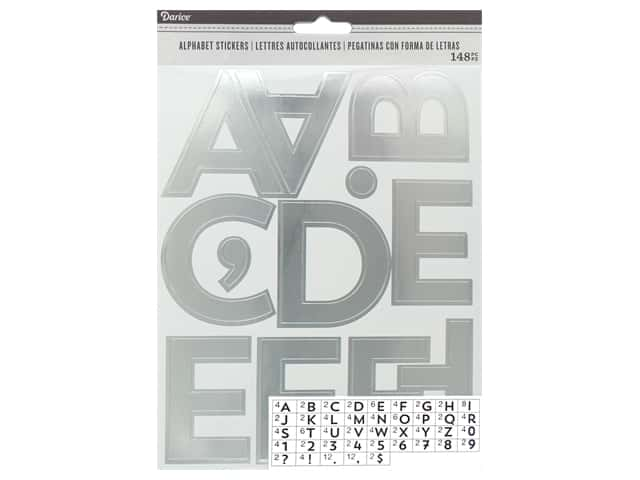Darice Sticker Large Alpha/Number 2.5 in. Silver 148 pc