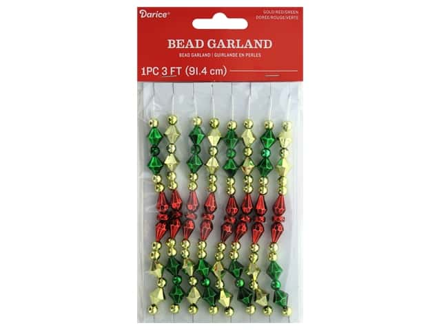 Darice Garland Bead Plastic Gold Red Green 36 in.