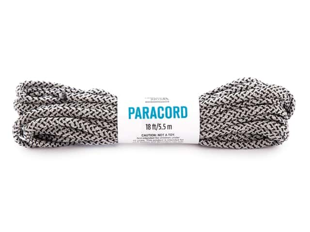 Leisure Arts Paracord Black/Gray 18 ft