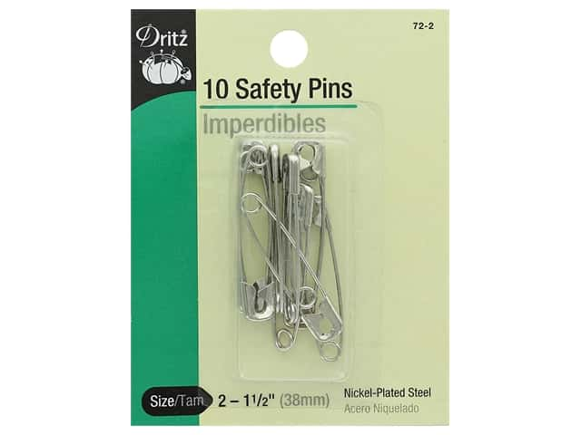 Safety Pins by Dritz 1 1/2 in. Nickel 10 pc.