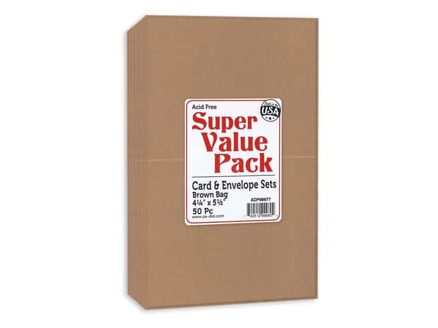 Paper Accents Super Value Card & Envelope Pack 4.25 in. x 5.5 in. x 50 pc Brown Bag- Includes 50 cards and 50 envelopes.
