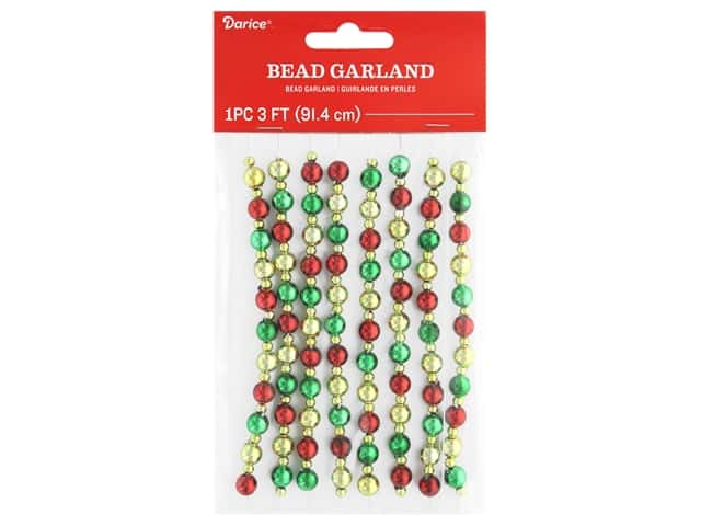 Darice Garland Bead Plastic Red, Green, Gold 36 in.