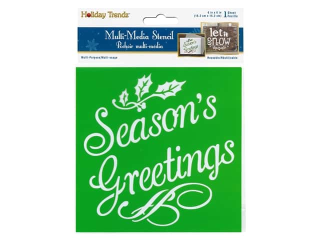 Multicraft Craft Decor Stencil 6 in. x 6 in. Holiday Seasons Greeting