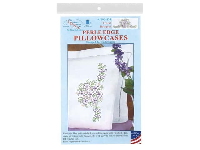Jack Dempsey Perle Edge Pillowcase - Floral Bouquet
