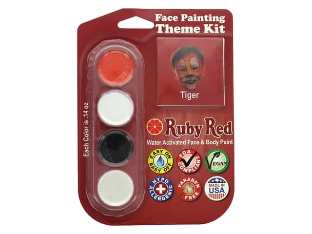 Ruby Red Face & Body Paint Theme Kit Tiger