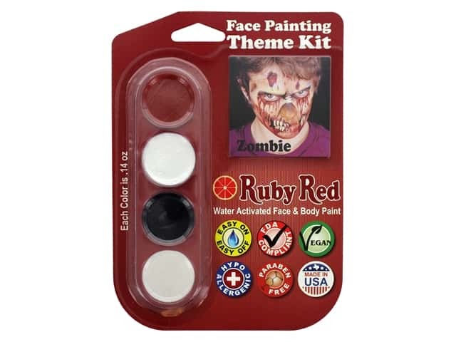 Ruby Red Face & Body Paint Theme Kit Zombie