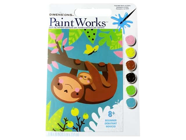 Paint Works Paint By Number Kit 8 x 10 in. Sloth & Baby