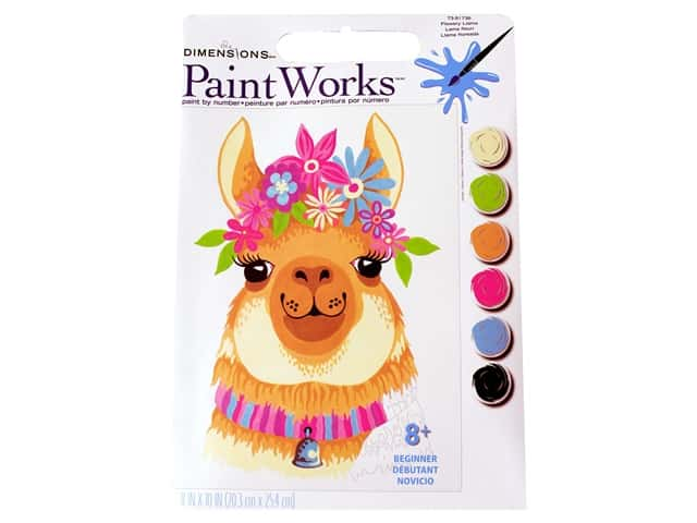 Paint Works Paint By Number Kit 8 x 10 in. Flowery Llama
