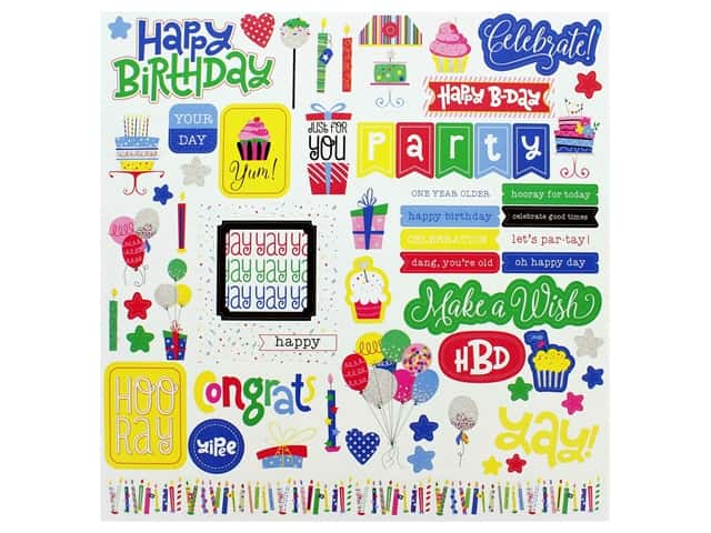 Photo Play 12 x 12 in. Sticker Sheet Confetti