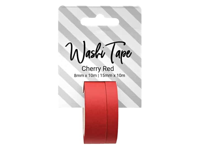 PA Essentials Washi Tape 8 mm & 15 mm x 10 m Solid Cherry Red