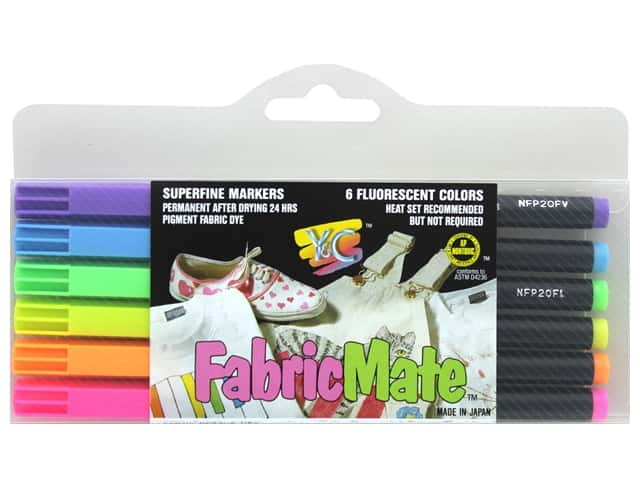 FabricMate Fabric Markers Brush Tip Standard Barrel Set Fluorescent 6 pc.