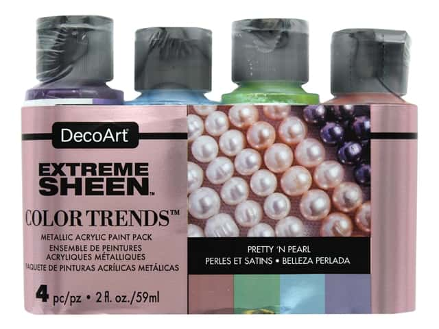 Decoart Extreme Sheen Metallic Paint Pretty 'N Pearl 4 pc