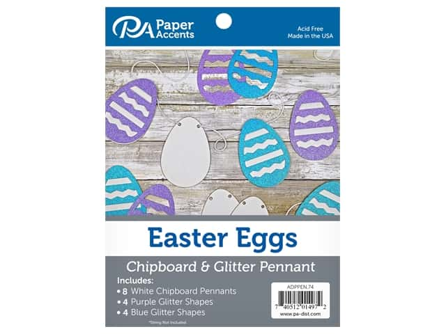 Paper Accents Chipboard Pennants Glitter Easter Egg 5 in. White/Purple/Blue 16 pc