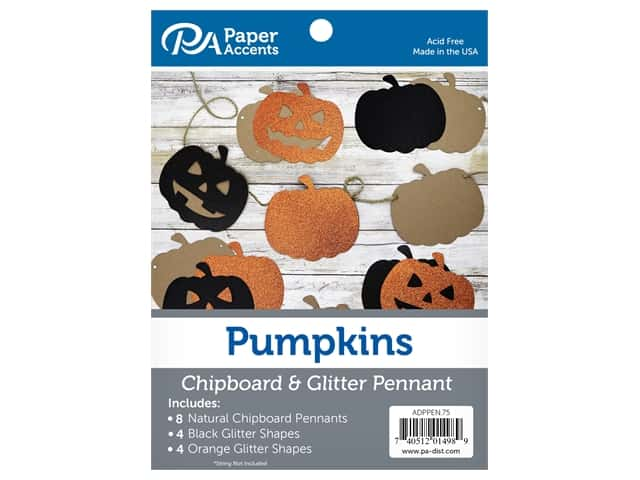 Paper Accents Chipboard Pennants Glitter Pumpkins 5 in. Natural/Orange/Black 16 pc