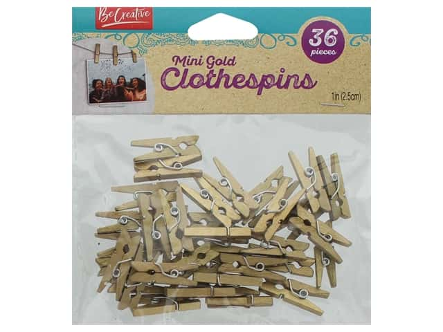Leisure Arts Clothespins Wood Mini Gold 36 pc