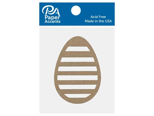 Paper Accents Chip Shape Egg Striped Natural 8 pc