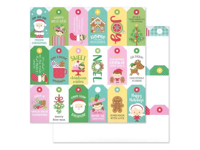 Doodlebug Collection Christmas Magic Paper 12 in. x 12 in. Christmas Tags