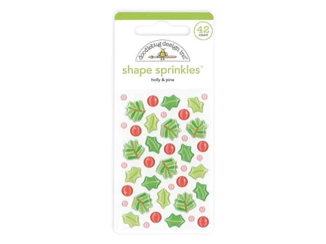 Doodlebug Collection Christmas Magic Sprinkles Shape Holly & Pine