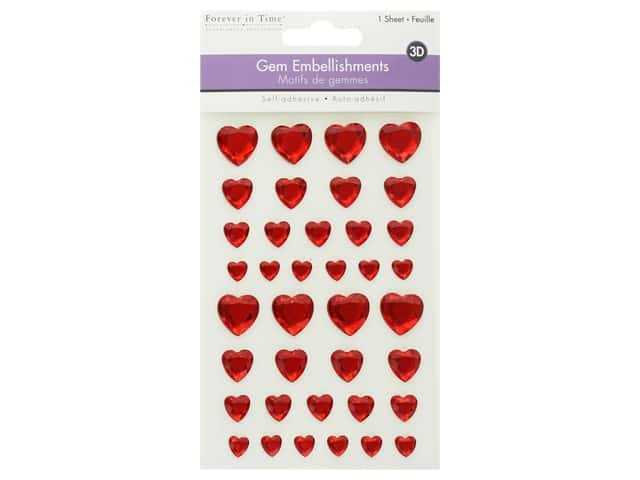 Multicraft Sticker 3D Gem Red Hearts