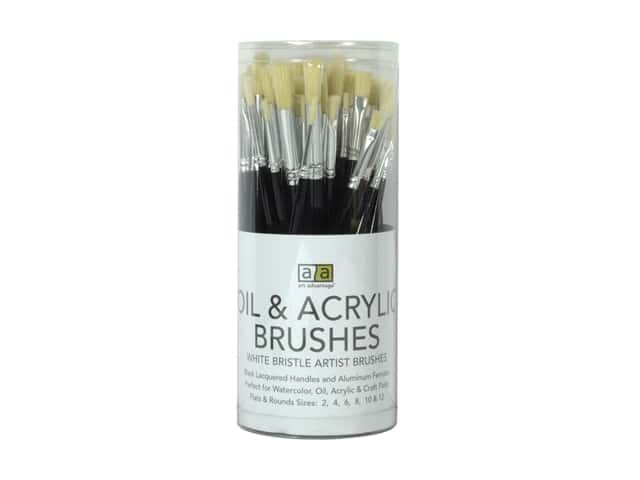 Art Advantage Oil & Acrylic Brushes 72 pc. White Bristle Assortment