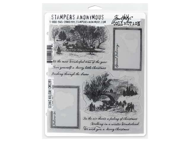 Stampers Anonymous Tim Holtz Cling Mount Stamp Set - Scenic Holiday